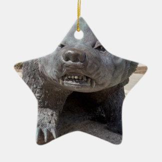 bucky badger Double-Sided star ceramic christmas ornament