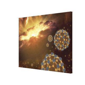 Buckyballs floating in interstellar space canvas print