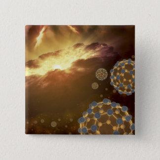 Buckyballs floating in interstellar space pinback button