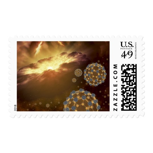 Buckyballs floating in interstellar space postage