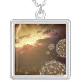 Buckyballs floating in interstellar space silver plated necklace