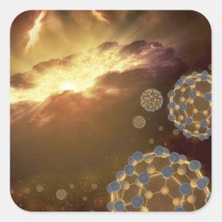 Buckyballs floating in interstellar space square sticker
