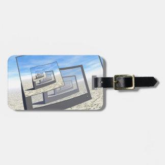 Bucle infinito de los monitores surrealistas etiqueta de equipaje
