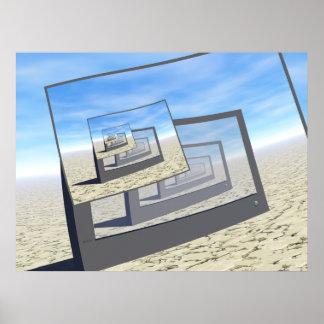 Bucle infinito de los monitores surrealistas impresiones