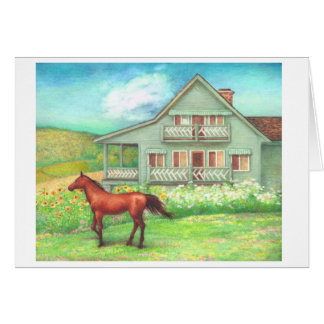 Bucolic country house & horse greeting card