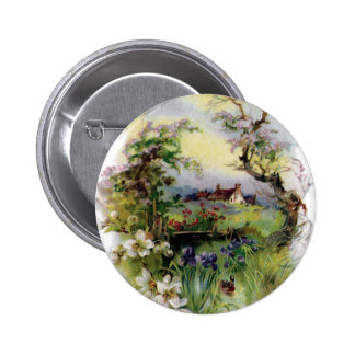 Bucolic Farm in Bloom Vintage Easter 2 Inch Round Button