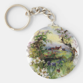 Bucolic Farm in Bloom Vintage Easter Basic Round Button Keychain