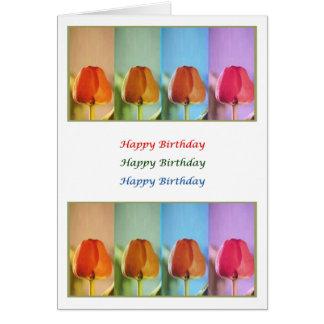 BUD Eye Popping Art - HappyBirthday Tulip Parade Greeting Card