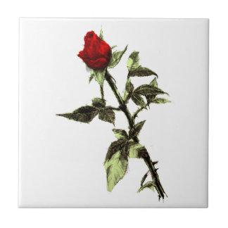 Bud of the red rose ceramic tile