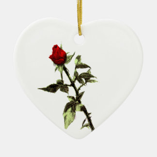 Bud of the red rose penciled ceramic ornament