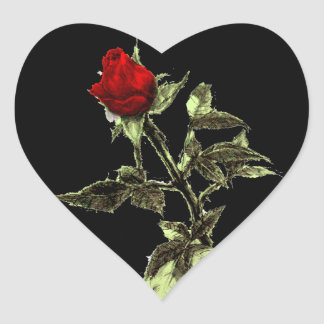 Bud of the red rose penciled heart sticker