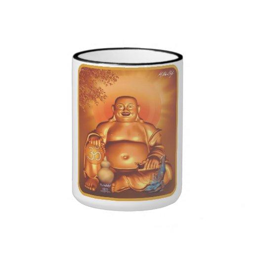 Buda afortunado feliz de oro taza de dos colores