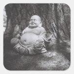 Buda alegre calcomanía cuadradas personalizadas