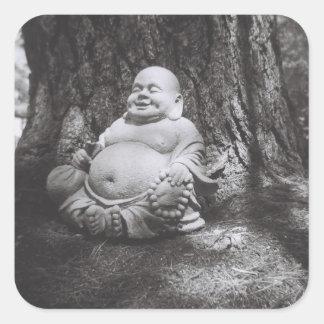 Buda alegre pegatina cuadrada