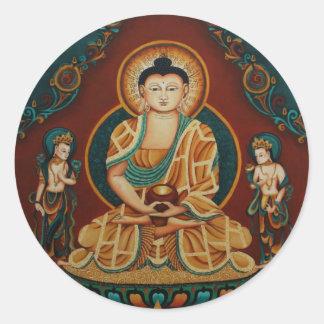 Buda Amitabha con Bodhisattvas Pegatina Redonda