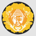 Buda anaranjado y amarillo etiqueta redonda