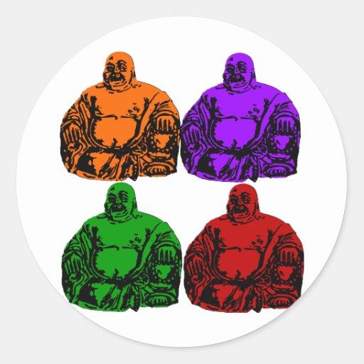 Buda - arte pop pegatina redonda