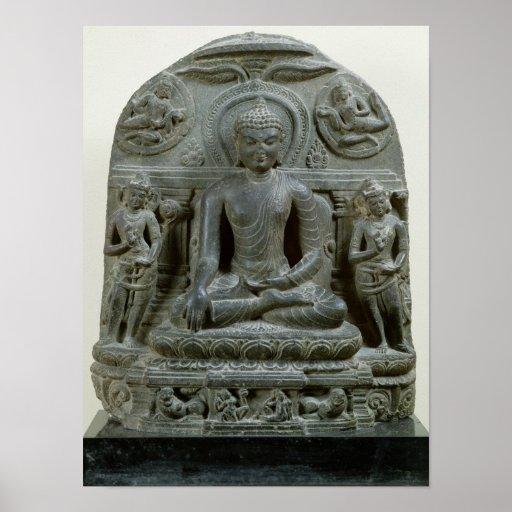 Buda asentado en la meditación impresiones