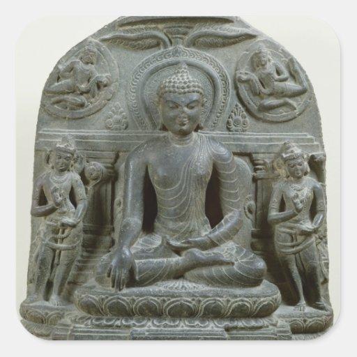 Buda asentado en la meditación calcomanías cuadradass personalizadas