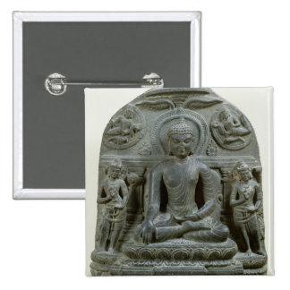 Buda asentado en la meditación pin cuadrado