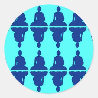 Buda azul pegatinas redondas