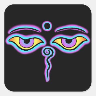 Buda azul y púrpura Eyes.png Calcomanías Cuadradass Personalizadas