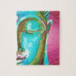 Buda azul y rosado hace frente al mosaico puzzle