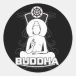Buda blanco y negro pegatina redonda