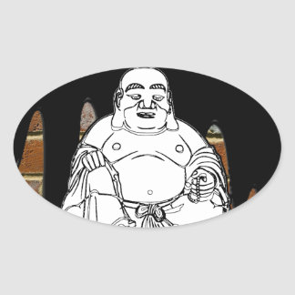 BUDA BRICK BACKGROUND PRODUCTS OVAL STICKERS