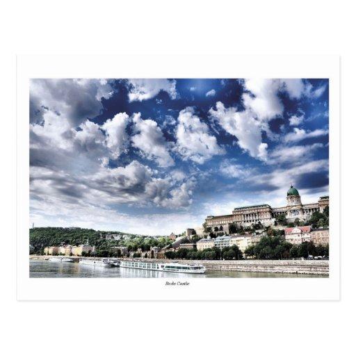 Buda castle at daytime postcard