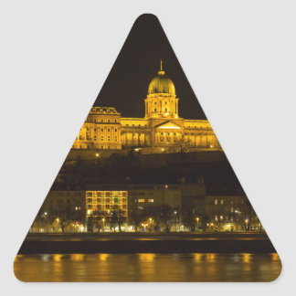 Buda Castle Hungary Budapest at night Triangle Sticker