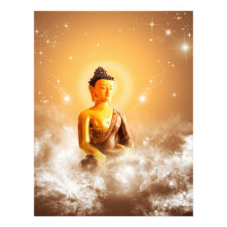 Buda con las nubes y las estrellas plantilla de membrete