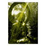 Buda con los rayos tarjeta de felicitación