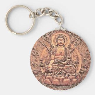Buda de cobre asombroso detallado llavero redondo tipo pin