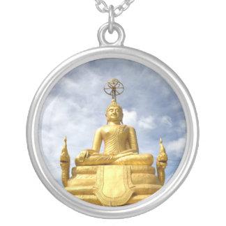 Buda de oro colgante redondo