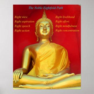 Buda de oro y trayectoria multiplicada por ocho póster