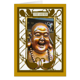 Buda de risa, cada buen deseo tarjeta de felicitación