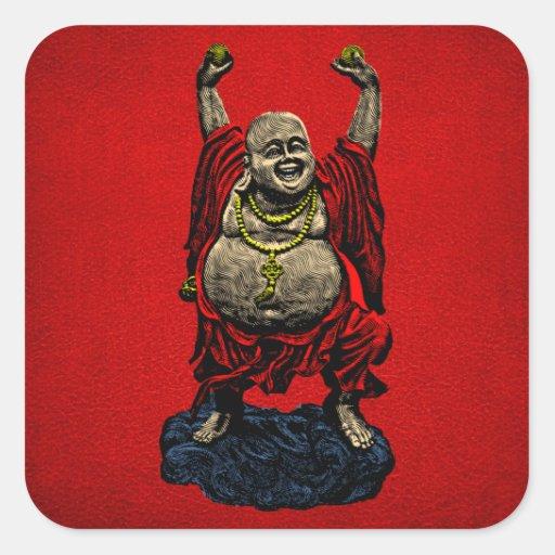 Buda de risa (color 4) pegatinas cuadradas