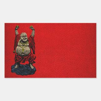 Buda de risa (color 4) pegatina rectangular