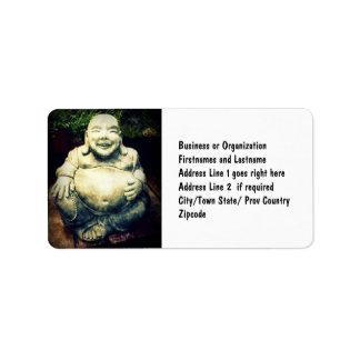 Buda de risa etiquetas de dirección