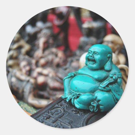 ¡Buda de risa feliz! Etiquetas Redondas