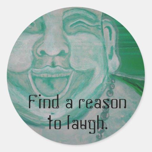 Buda de risa etiqueta redonda