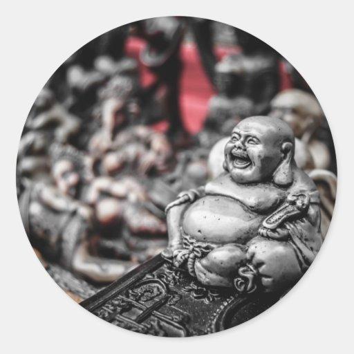 Buda de risa pegatina redonda