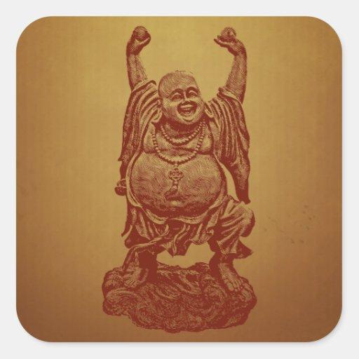 Buda de risa (rojo oscuro) pegatinas cuadradas