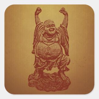 Buda de risa (rojo oscuro) pegatina cuadrada