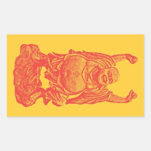 Buda de risa (rojo) etiqueta