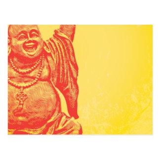 Buda de risa rojo postal