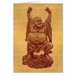 Buda de risa + ¡su texto! (rojo oscuro en el papel felicitacion