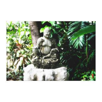 Buda de risa tailandés en lona del jardín impresion en lona