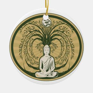 Buda debajo del árbol de Bodhi Adorno Navideño Redondo De Cerámica